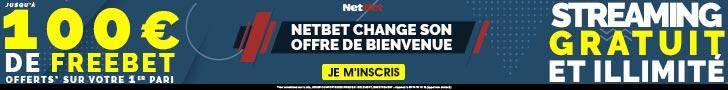 Netbet 100€ offerts paris sportifs