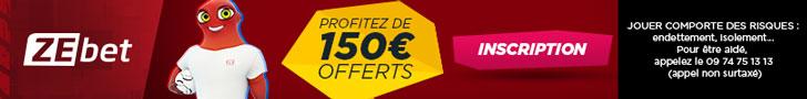 150€ offerts ZeBet Bonus paris sportifs