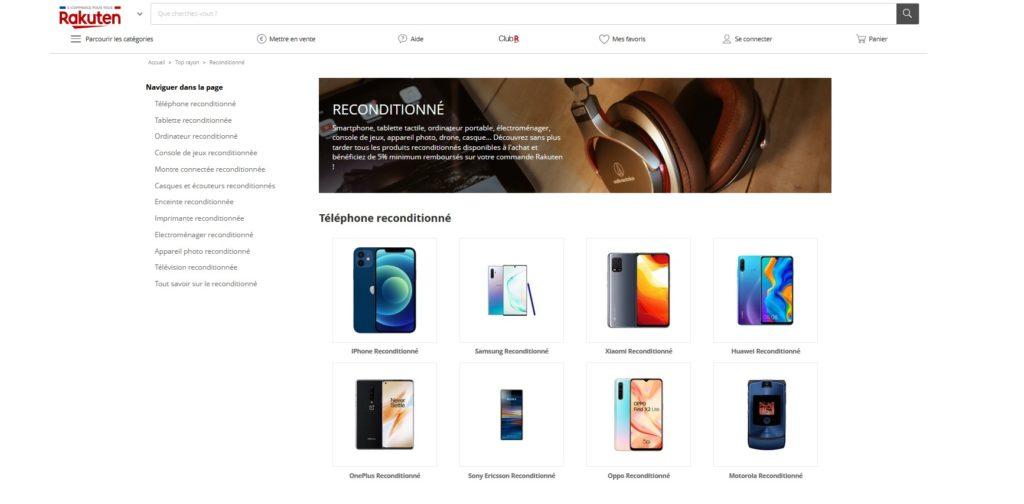 Rakuten fait partie des meilleurs sites de produits reconditionnés et smartphones reconditionnés