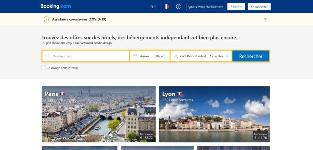 Booking fait partie des meilleurs sites pour acheter en ligne, réservation d'hébergements en ligne, hôtel gîte appartement