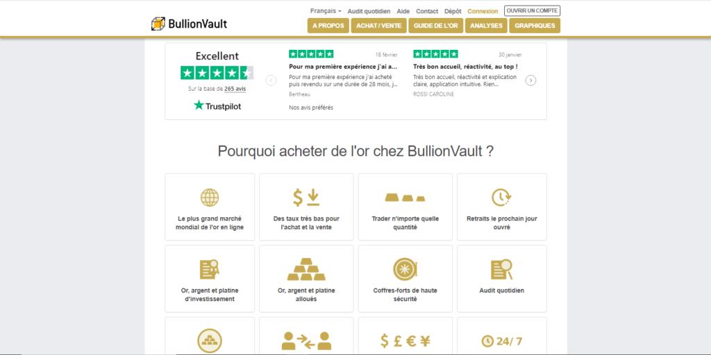 Bullion Vault fait partie des meilleurs sites pour acheter de l'or en ligne