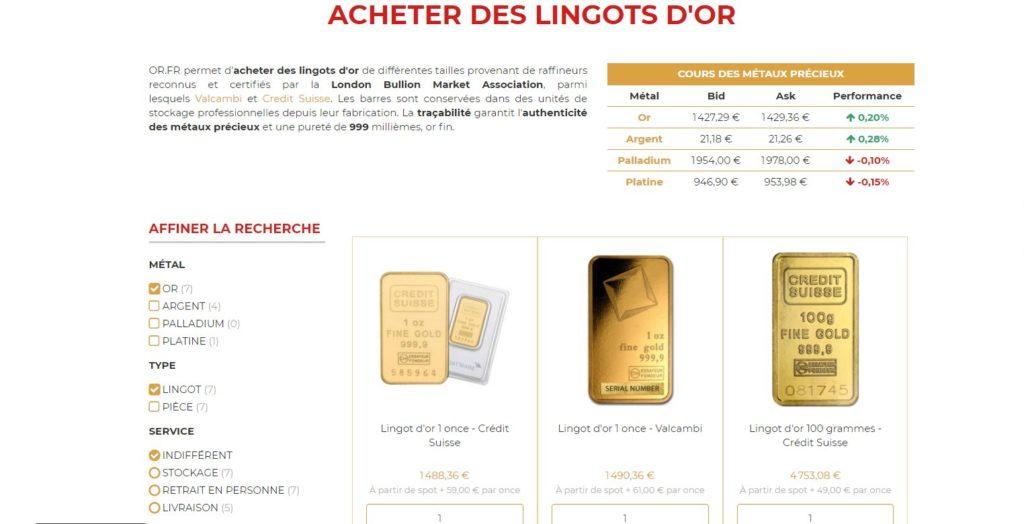 Or.fr compte parmi les meilleurs sites pour acheter de l'or en ligne