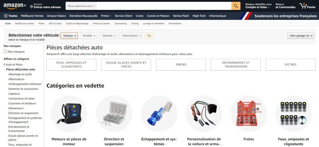Amazon fait partie des meilleurs sites de pièces auto et pièces détachées