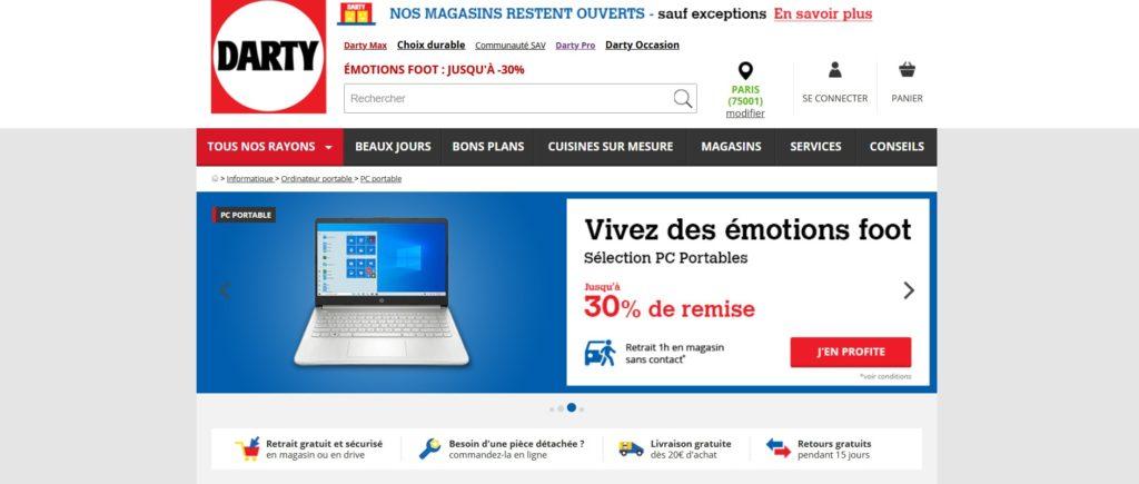 Darty fait partie des meilleurs sites pour acheter un ordinateur portable ou de bureau