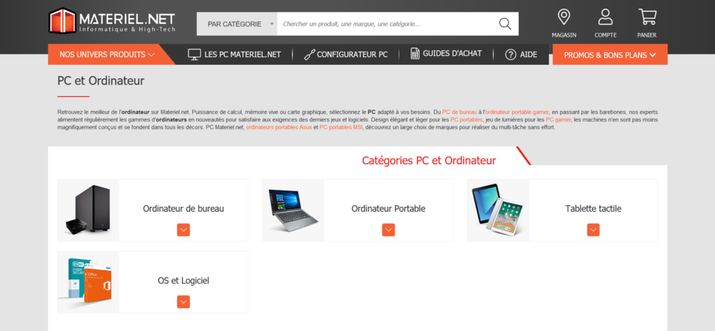 Materiel.net fait partie des meilleurs sites pour acheter un ordinateur portable ou de bureau, Comparatif des meilleurs sites pour achter un PC portable