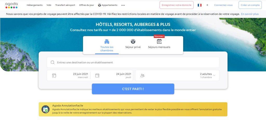 Agoda fait partie des meilleurs sites de réservation d'hôtel et des meilleurs sites de réservation d'hébergement