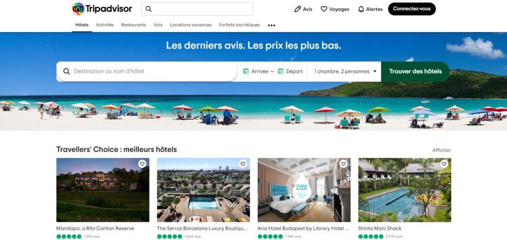 Tripadvisor fait partie des meilleurs sites de réservation d'hôtel et des meilleurs sites de réservation d'hébergement