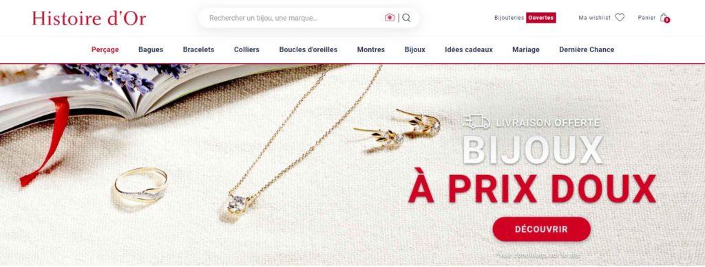 Histoire d'Or bijouterie, meilleurs sites de ventes en ligne de bijoux