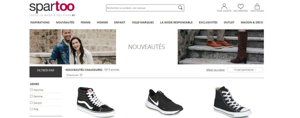 Spartoo est l'un des meilleurs sites de vente en ligne de chaussures