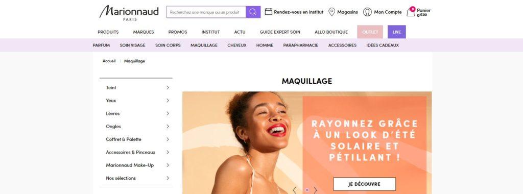 Meilleurs sites pour acheter du maquillage : Marionnaud