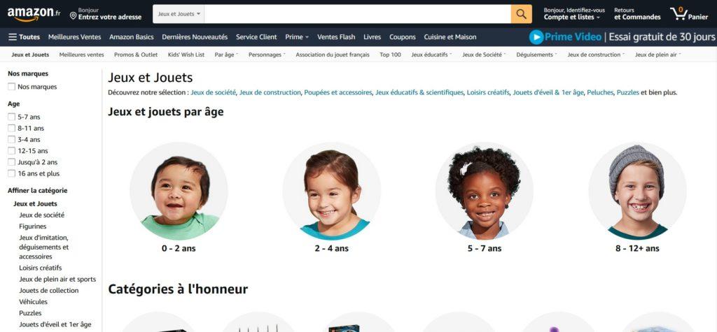 Meilleurs magasins de jouets en ligne : Amazon