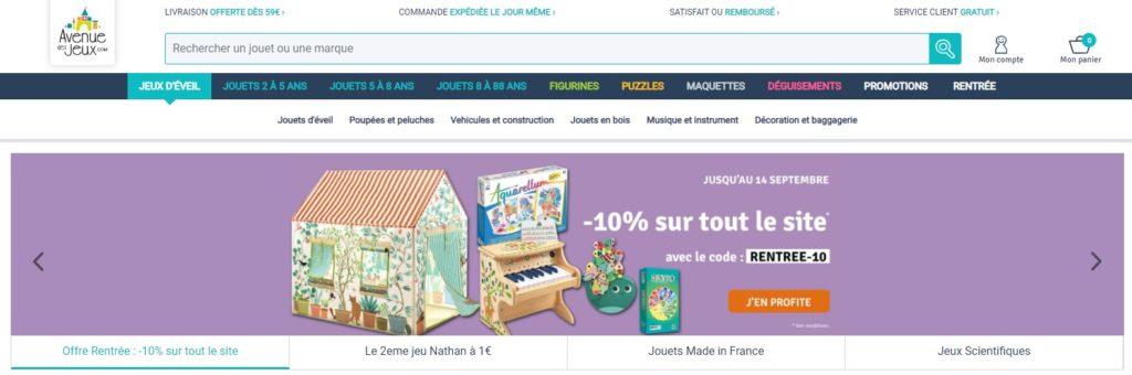 Meilleurs magasins de jouets en ligne : Avenue des jeux