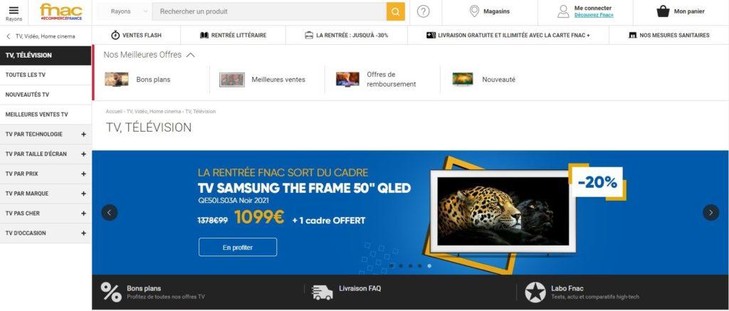 Fnac fait partie des meilleurs sites pour acheter une TV, Top 10 meilleurs sites pour acheter une télé