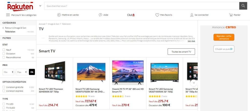 Rakuten fait partie des meilleurs sites pour acheter une TV, Top 10 meilleurs sites pour acheter une télé